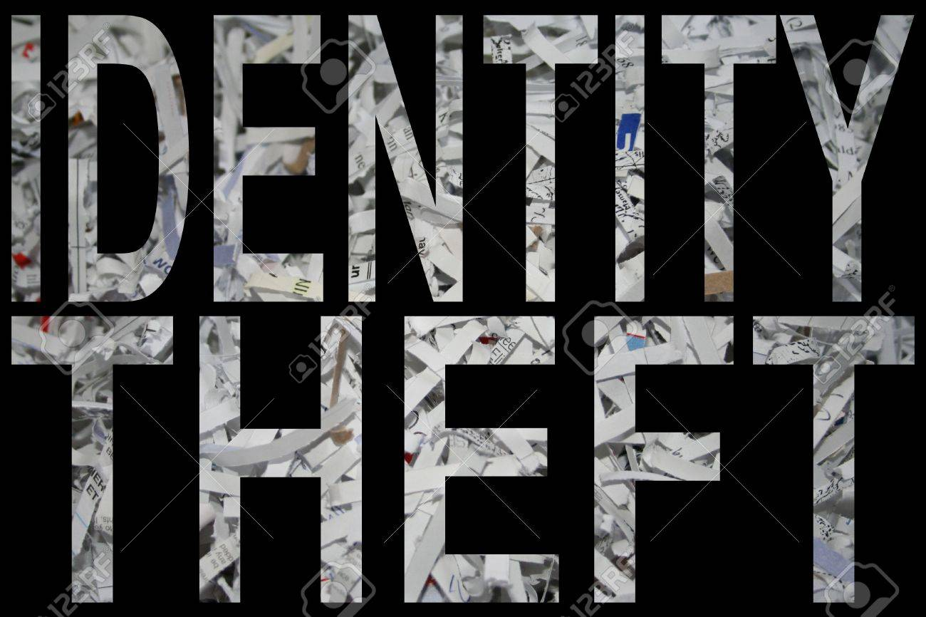 identify theft with shredded paper background Stock Photo - 799991