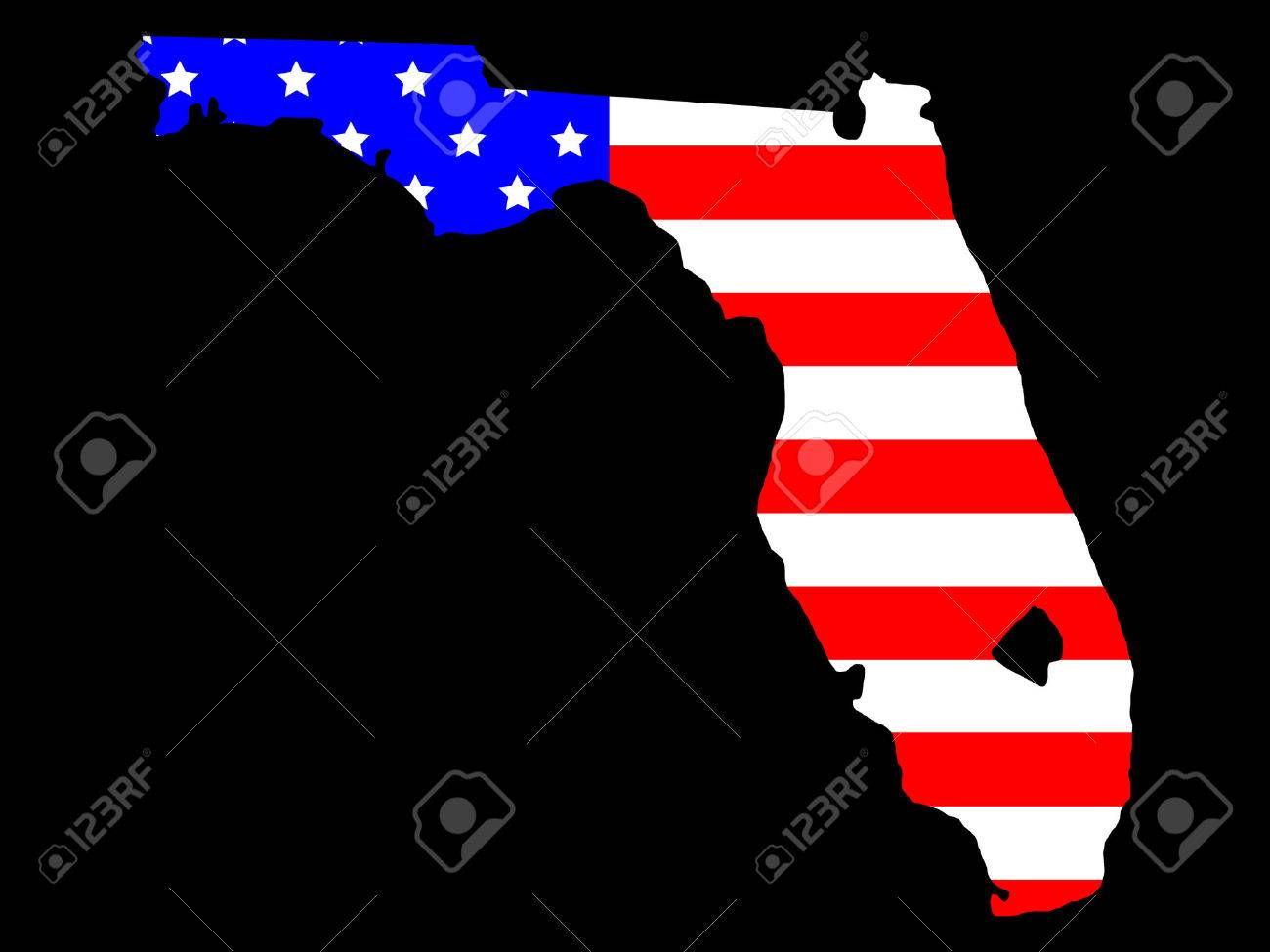 Map Of The State Of Florida And American Flag Royalty Free - Us map florida state