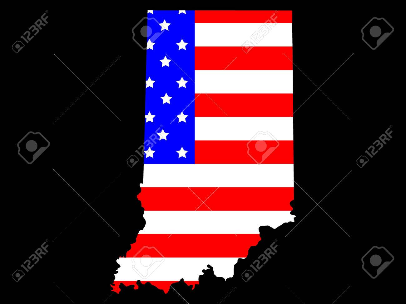 Map Of The State Of Indiana And American Flag Royalty Free - Indiana on a map of the usa