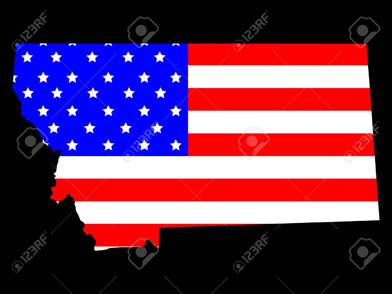 Map Of The State Of Montana And American Flag Royalty Free - Montana state usa map