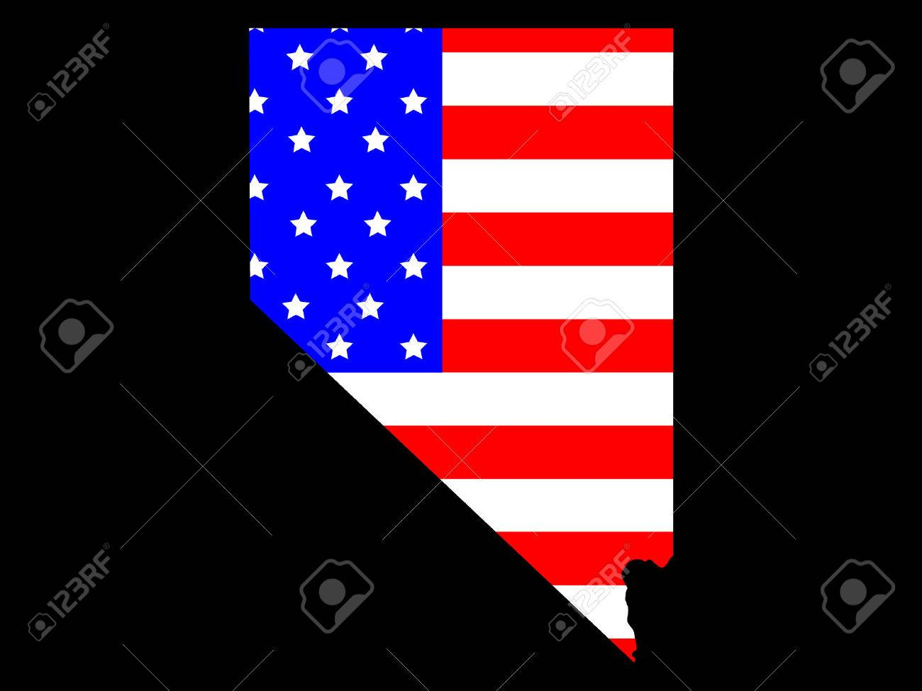 Map Of The State Of Nevada And American Flag Stock Vector 866386