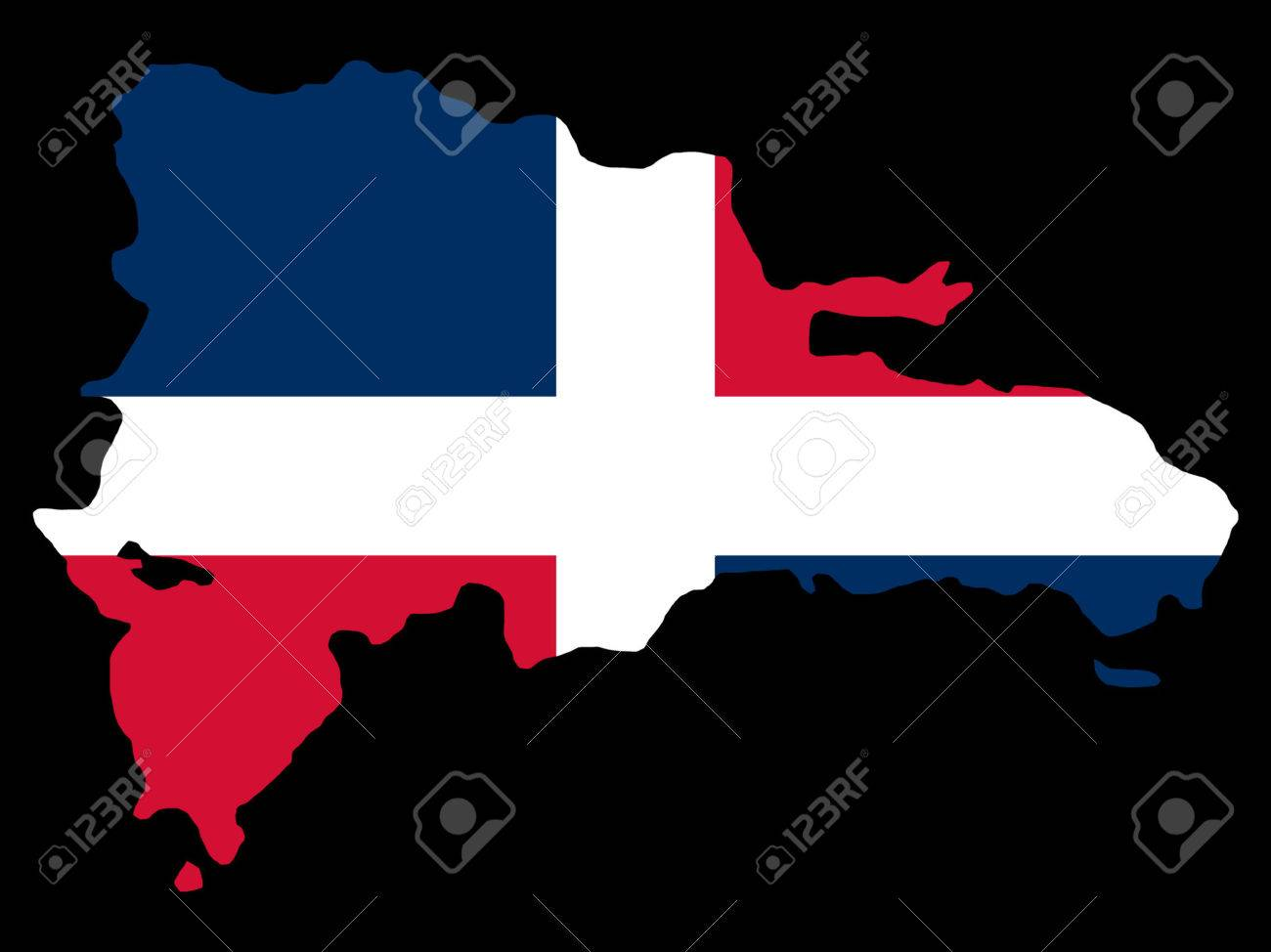 map of Dominican republic and Dominican flag illustration Stock Vector - 866658