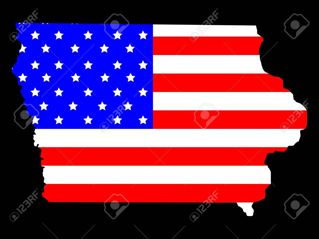 Map Of The State Of Iowa And American Flag Stock Photo Picture - Iowa state in usa map