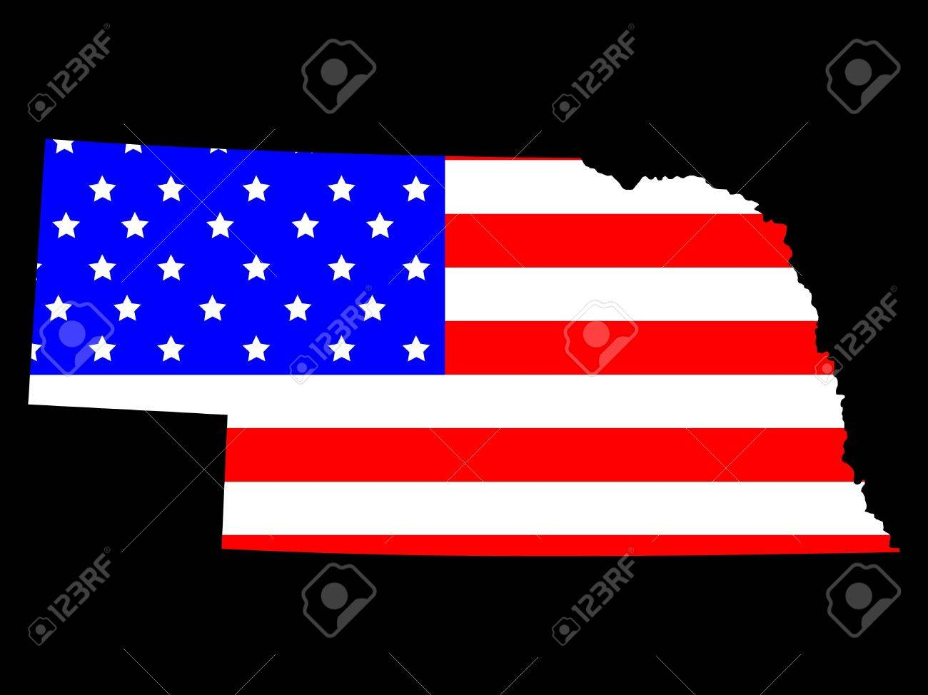 Map Of The State Of Nebraska And American Flag Stock Photo - Us map nebraska state