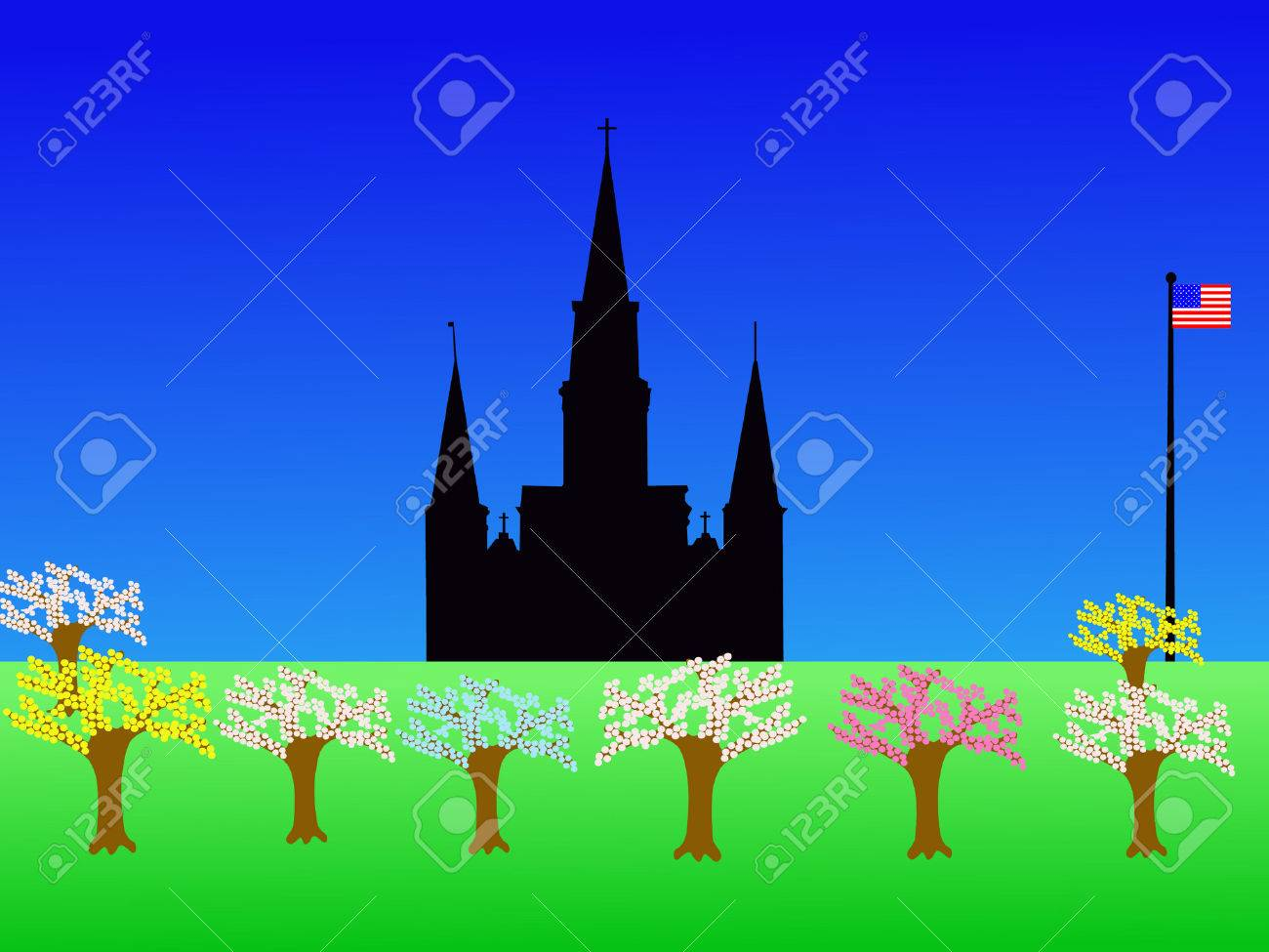 St Louis Cathedral Jackson Square New Orleans in springtime Stock Vector - 878858