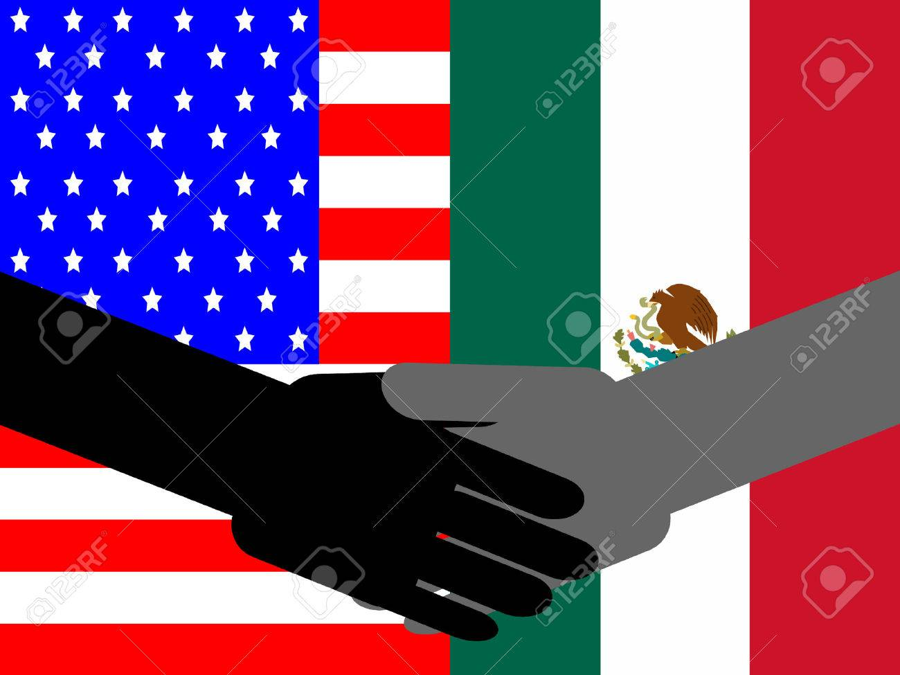 business handshake with american and mexican flag royalty free