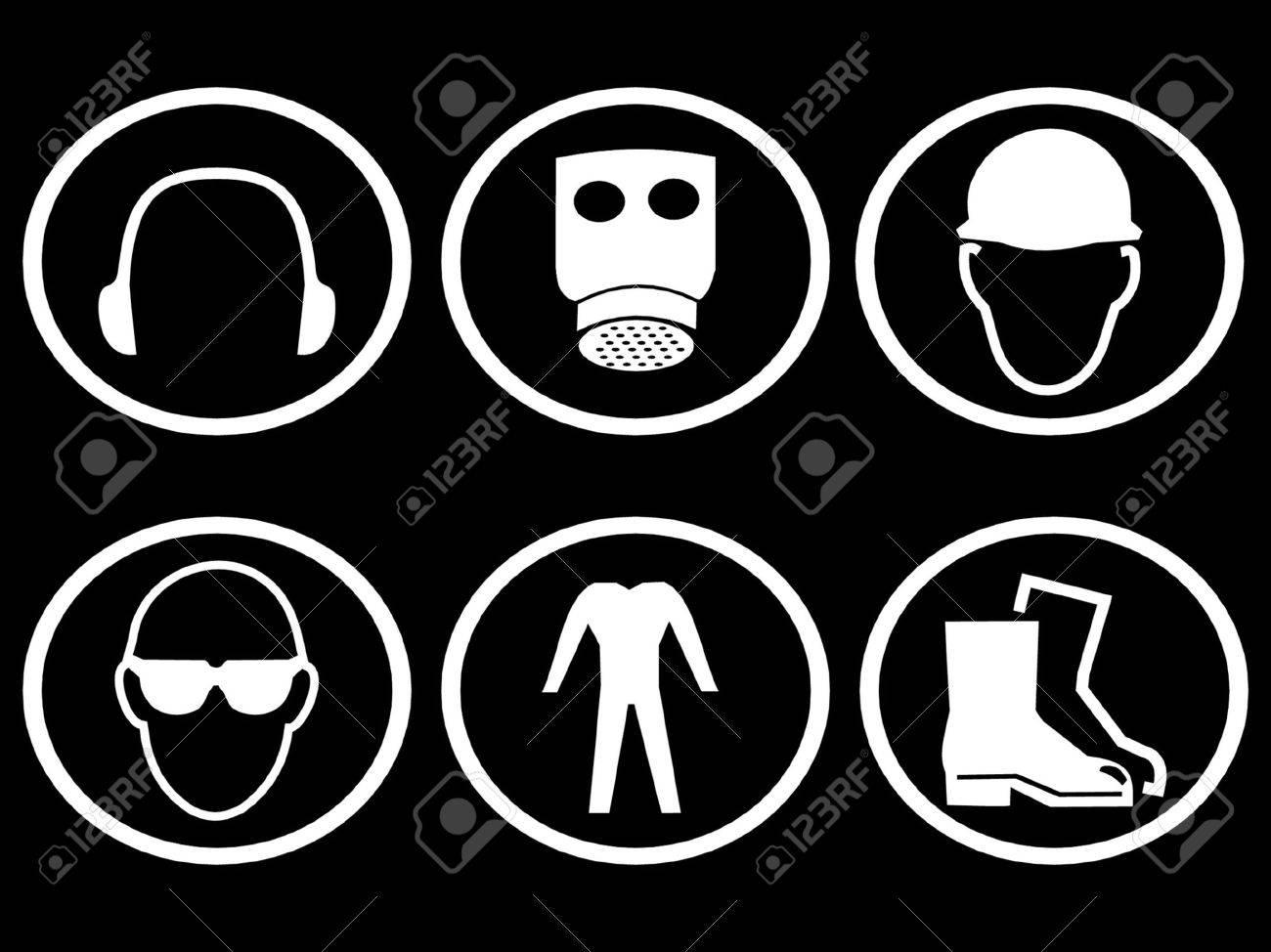construction safety symbols breathing apparatus Stock Vector - 892387