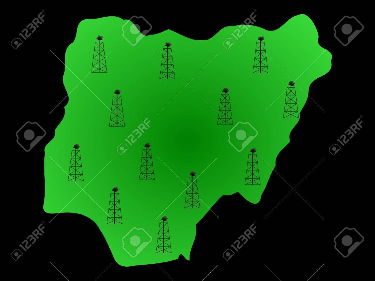Map of Nigeria and oil derricks illustration Stock Vector - 892528