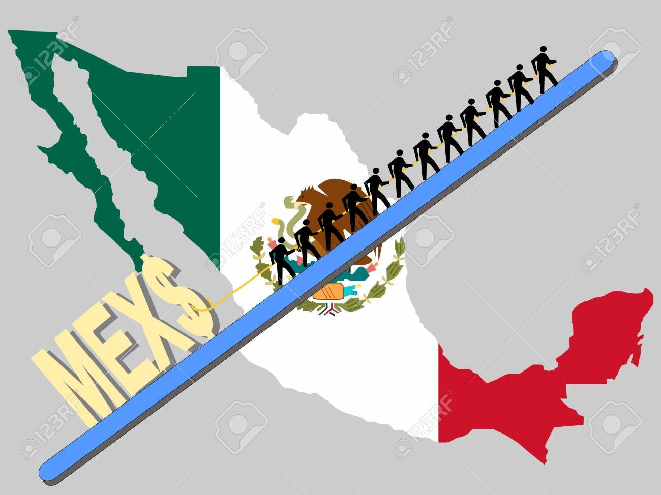 Workers Pulling Giant Peso Sign With Mexican Map And Flag – Mexicanmap