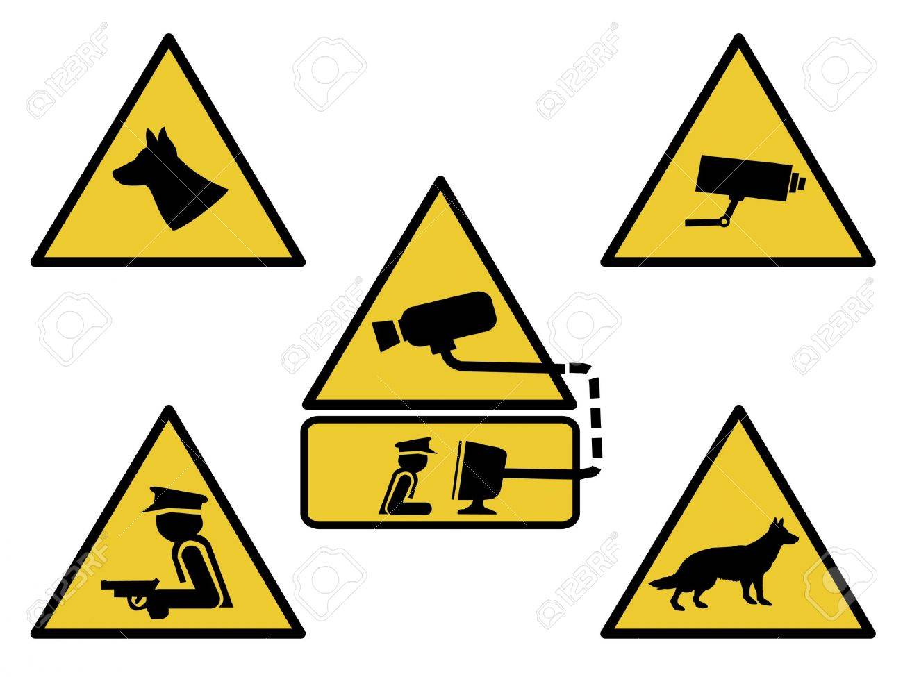 security signs, guard dogs, cctv camera, and armed guard illustration Stock Photo - 902171