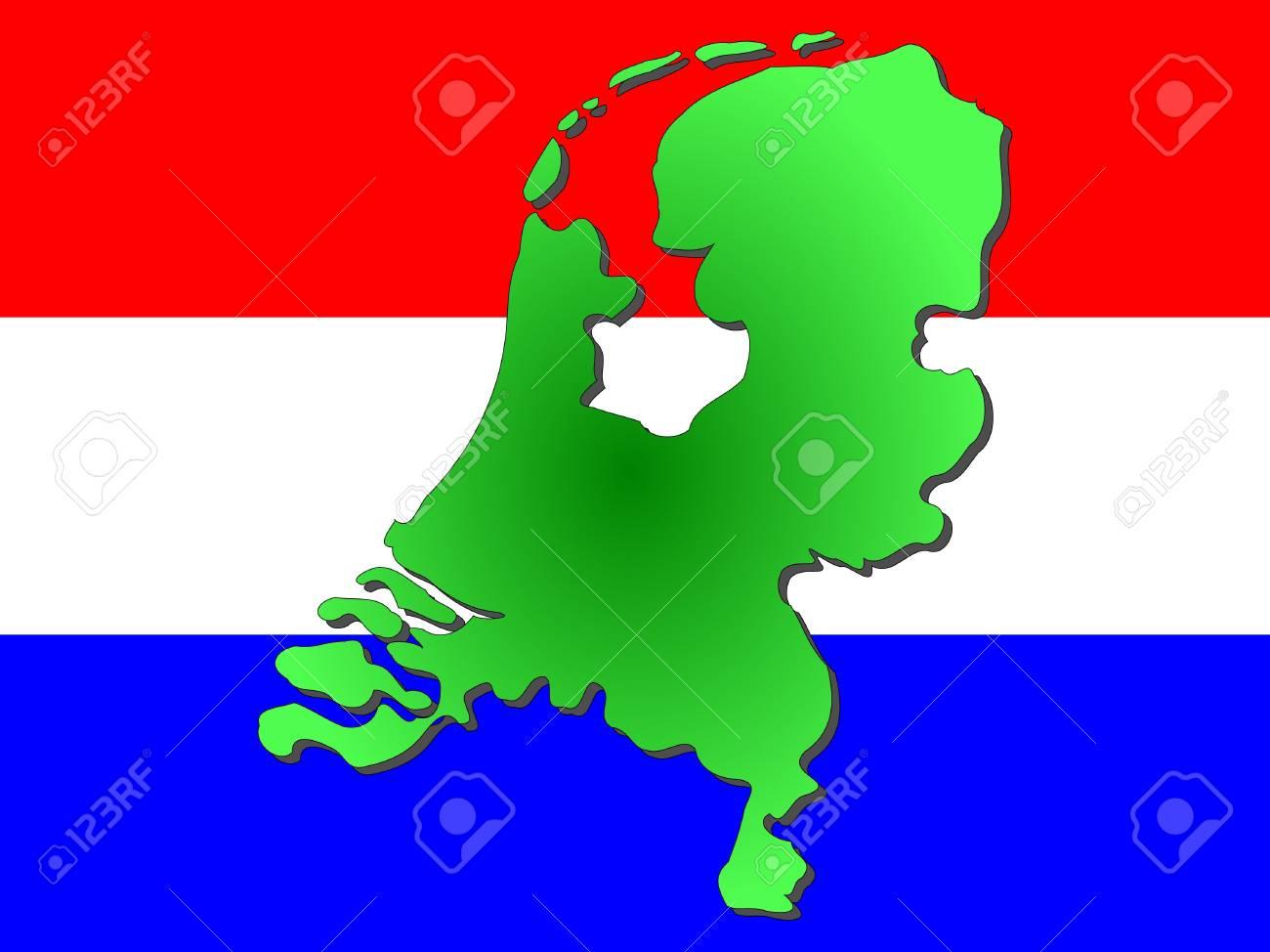 map of Netherlands and dutch flag illustration Stock Illustration - 914401