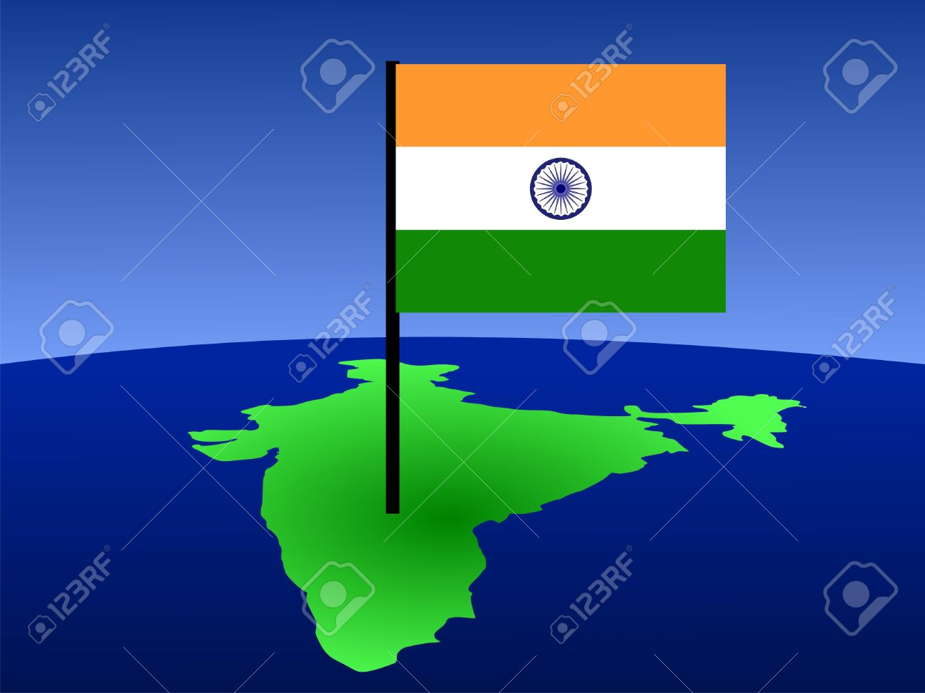 Stock Illustration on indian print with flag, indian map with key, indian man with flag, india flag,