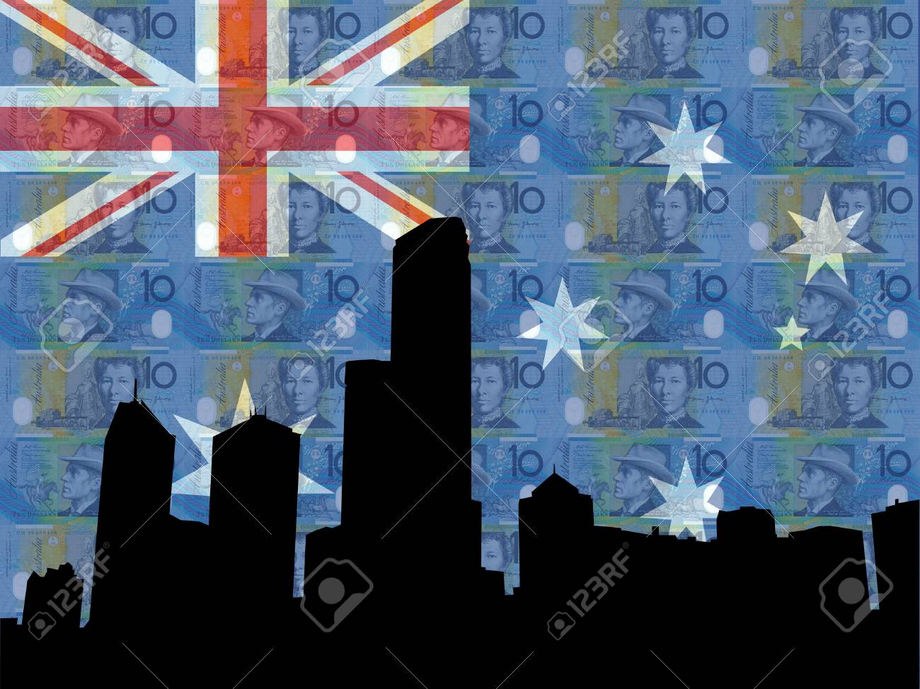 Melbourne skyline against Australian flag and currency Stock Photo - 1092134
