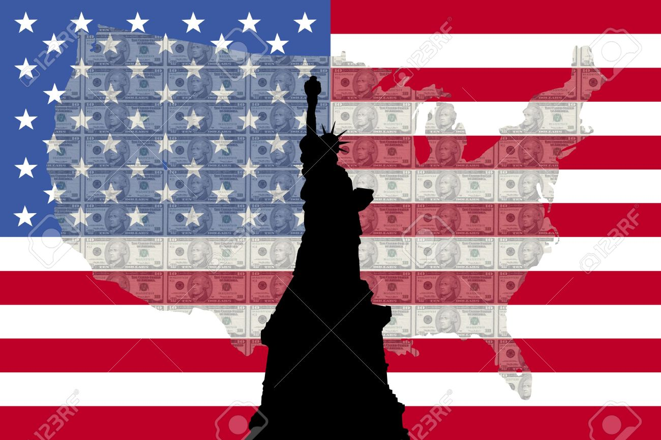 Statue of Liberty against ten dollar bills and American map and flag Stock Photo - 1104686