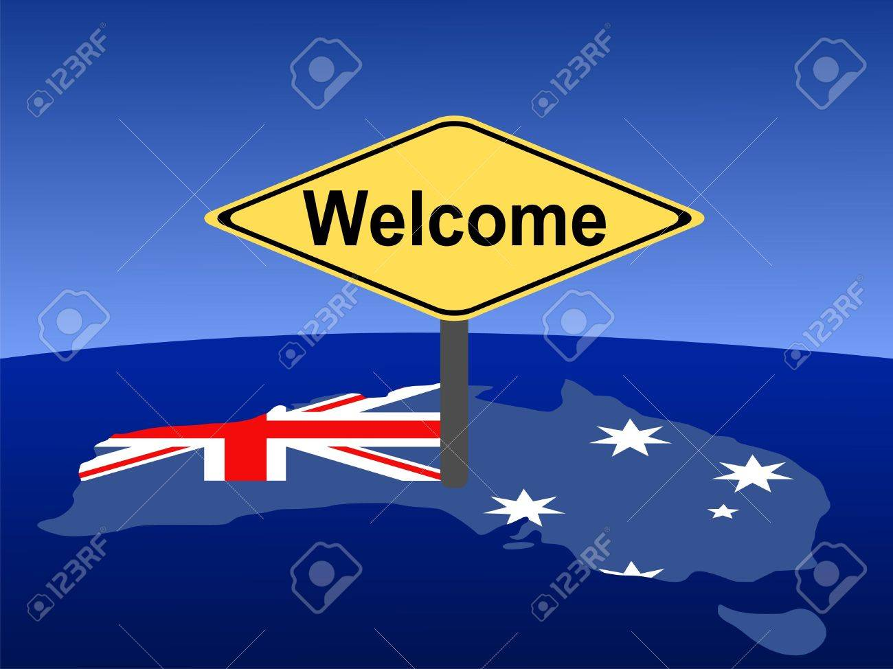 Giant Map Of Australia.Map And Flag Of Australia With Giant Welcome Sign