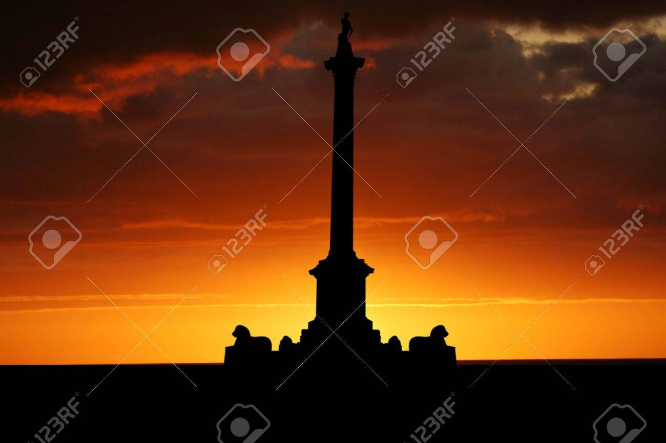 Nelson's Column Trafalgar Square at sunset illustration Stock Photo - 1281337