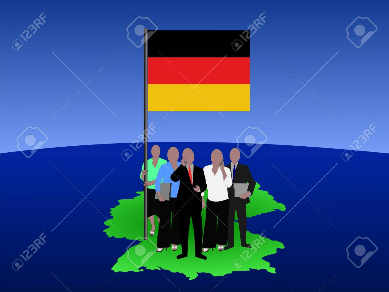 German business team with map and flag Stock Photo - 1281361