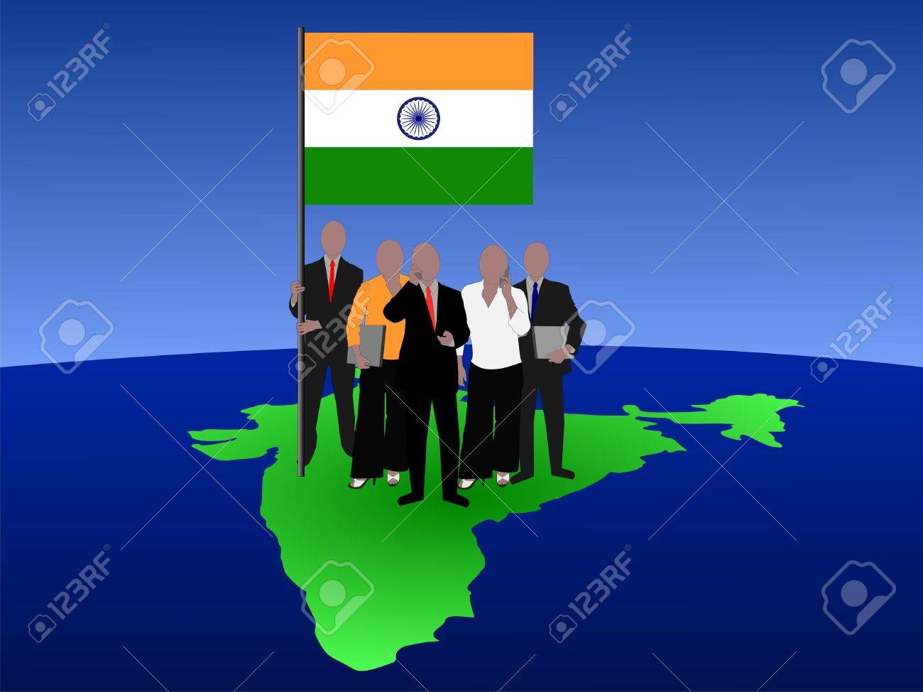 Indian business team standing on map with flag Stock Photo - 1297592