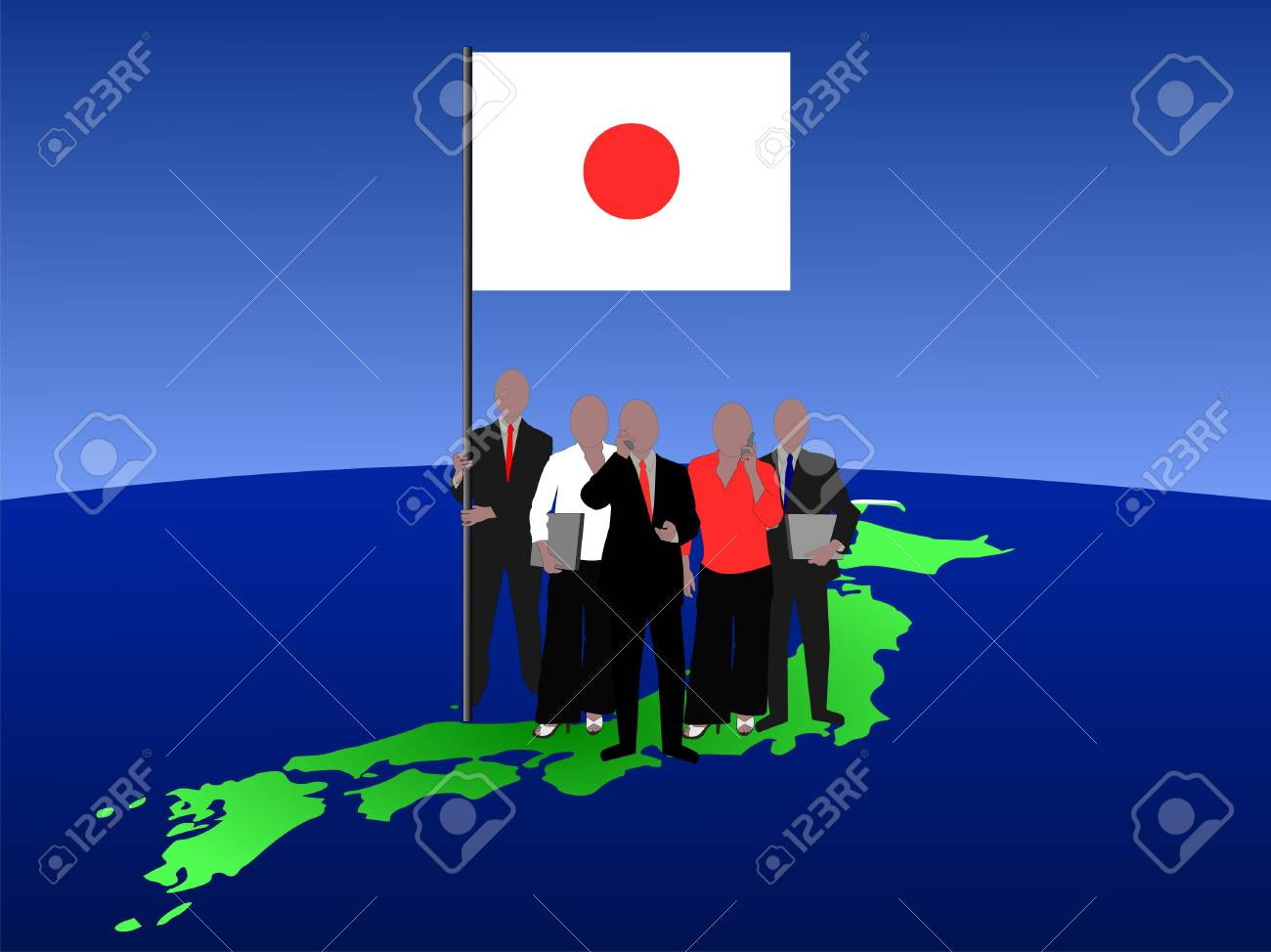 Japanese business team with map and flag Stock Photo - 1319592