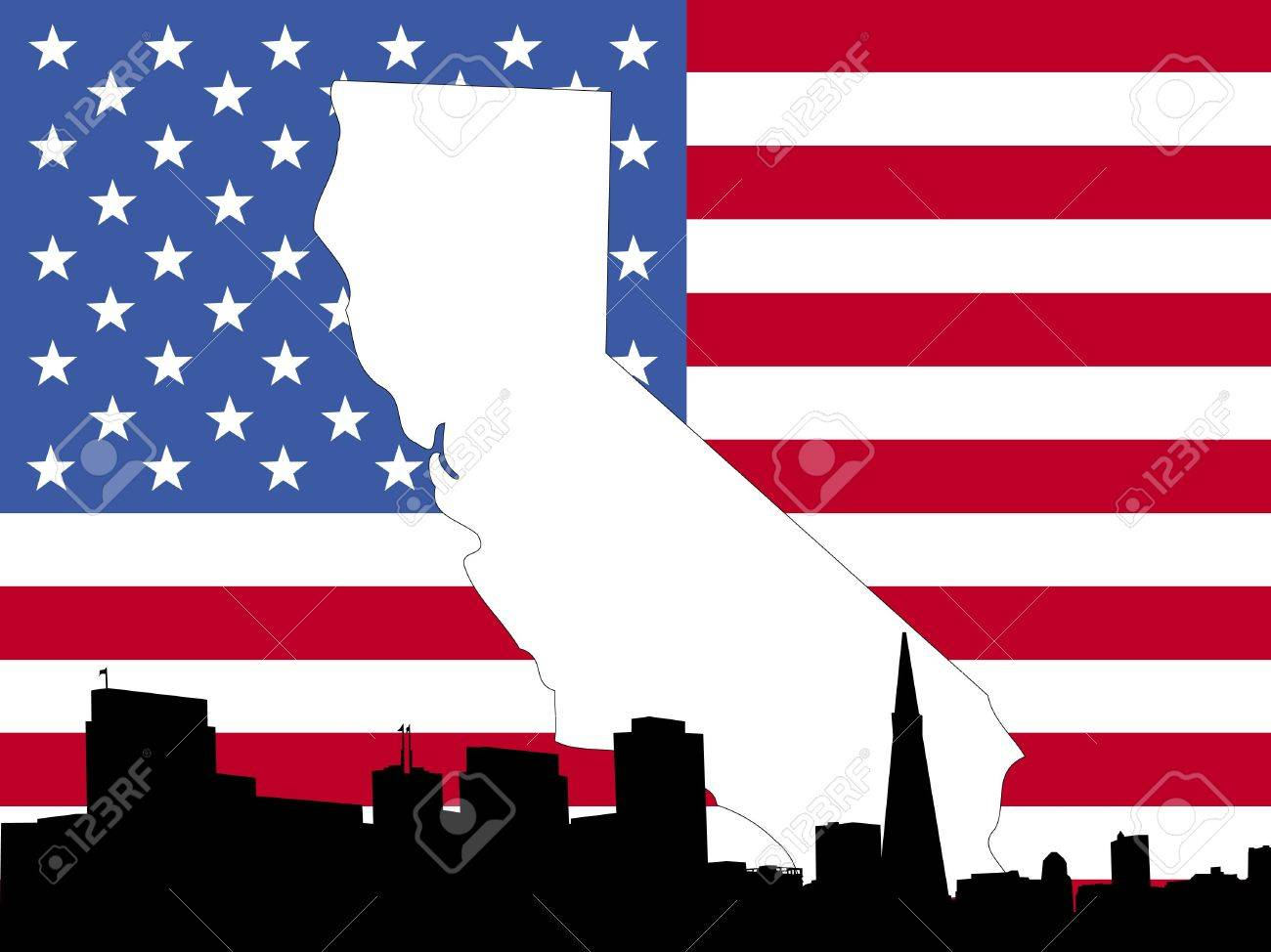 Map Of California On American Flag With San Francisco Skyline - Us flag map