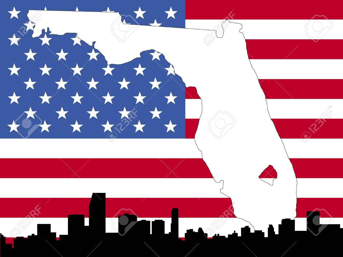 Map Of Florida On American Flag With Miami Skyline Stock Photo - Us flag map