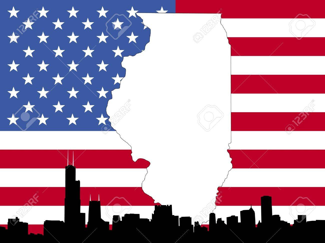 Map Of Illinois On American Flag With Chicago Skyline Stock Photo - Us flag map