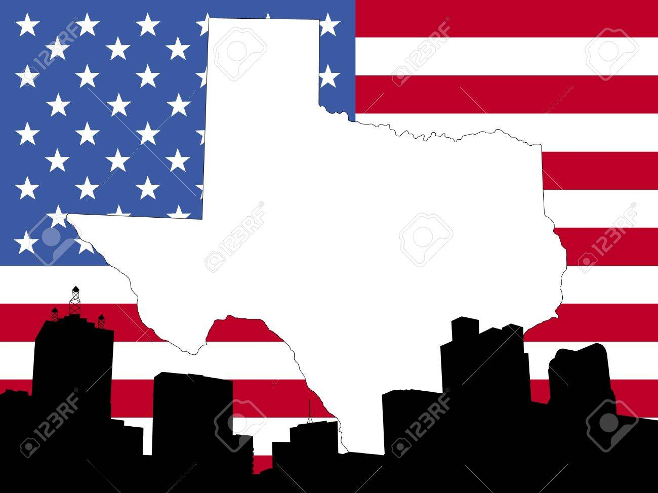 Map Of Texas On American Flag With Dallas Skyline Stock Photo - Dallas tx on us map