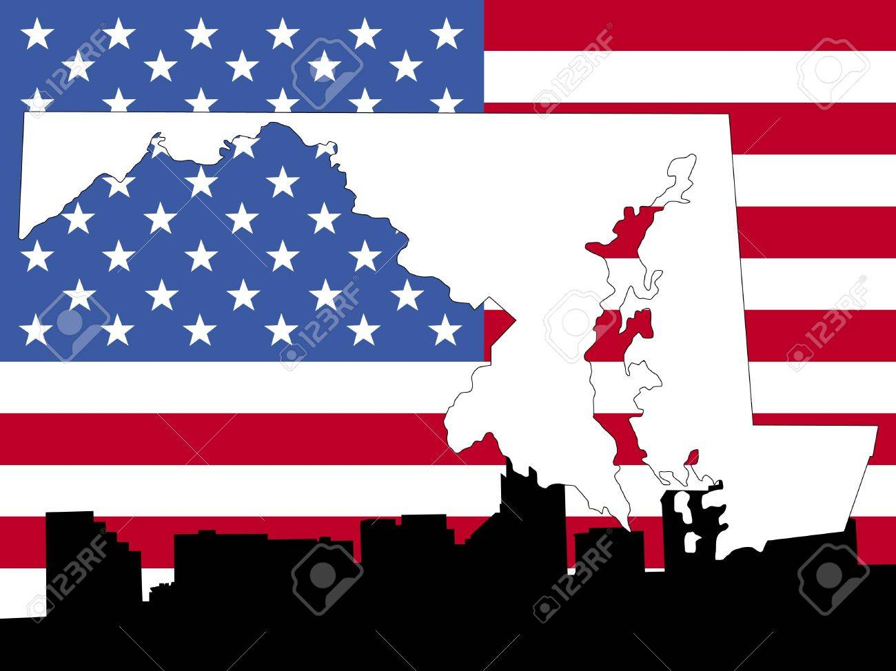 Map Of Maryland On American Flag With Baltimore Skyline Stock - Us map american flag