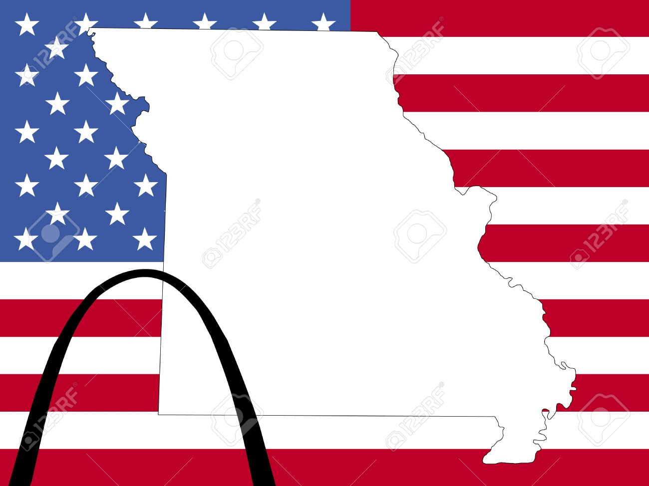 Map Of Missouri On American Flag With Gateway Arch Stock Photo 1342466