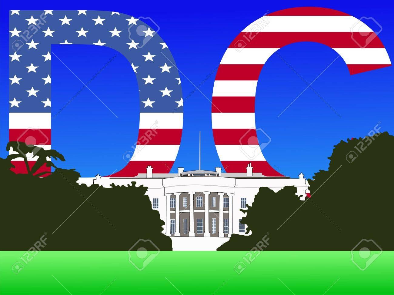 White House Washington DC with flag text illustration Stock Illustration - 1342539