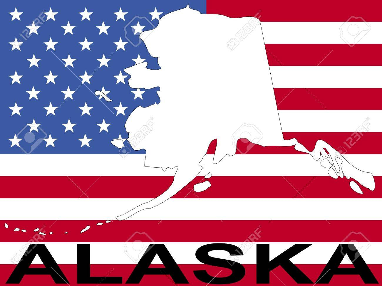Map Of Alaska On American Flag Illustration Stock Photo Picture - Us flag and map