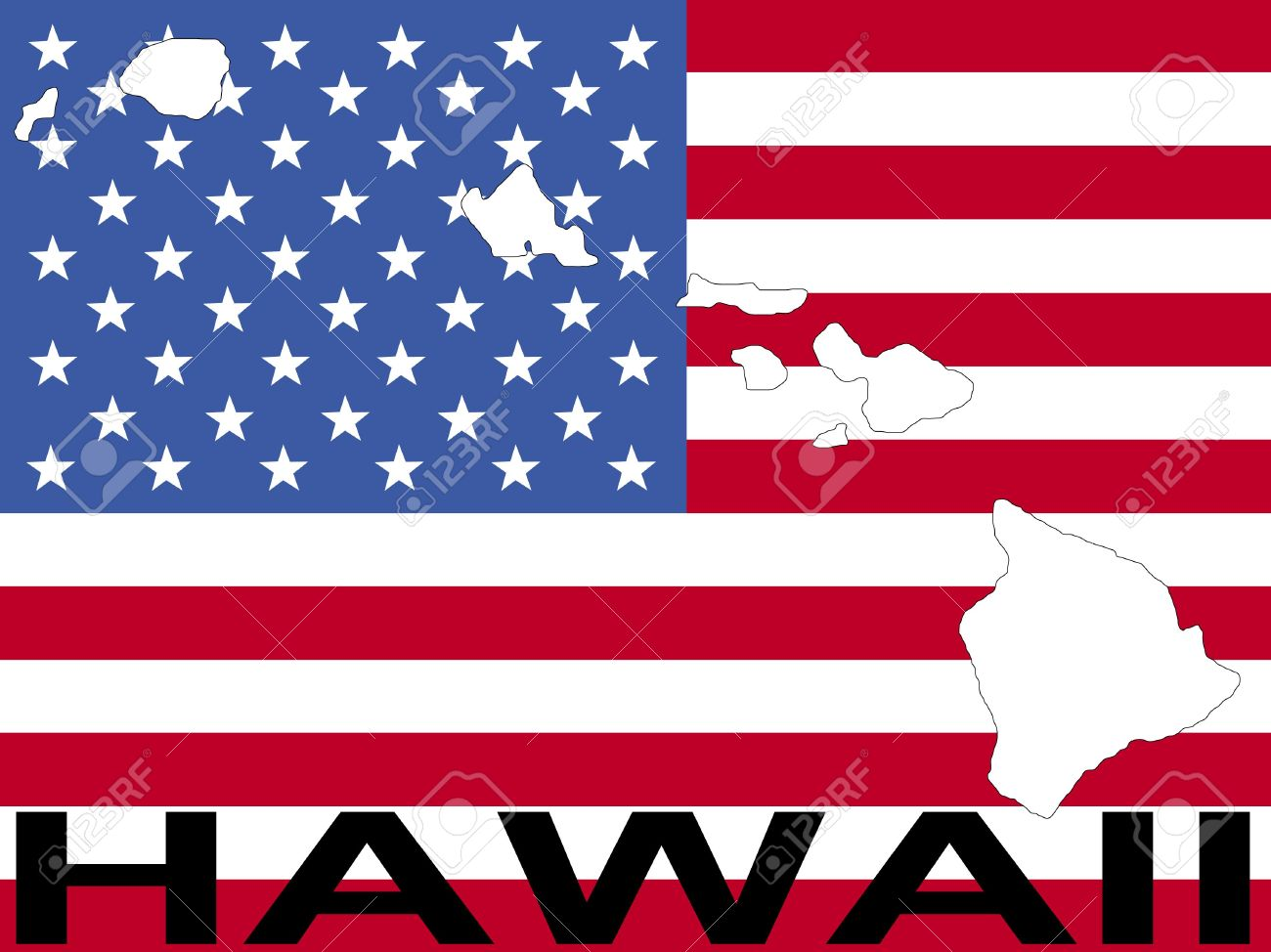 Map Of Hawaii On American Flag Illustration Stock Photo, Picture ...