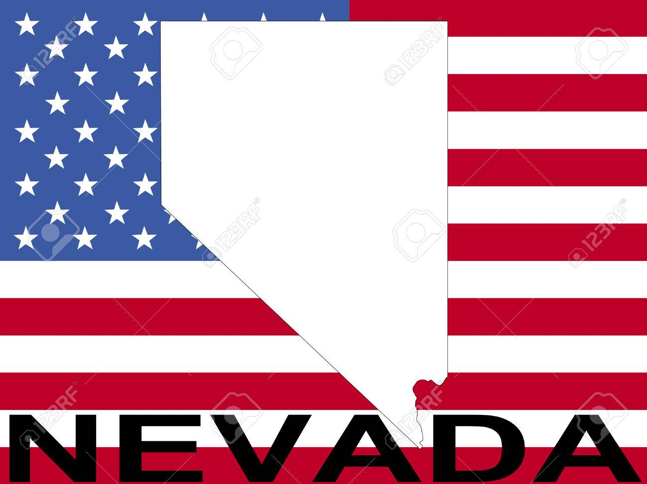 Map Of Nevada On American Flag Illustration Stock Photo Picture - Nevada us map