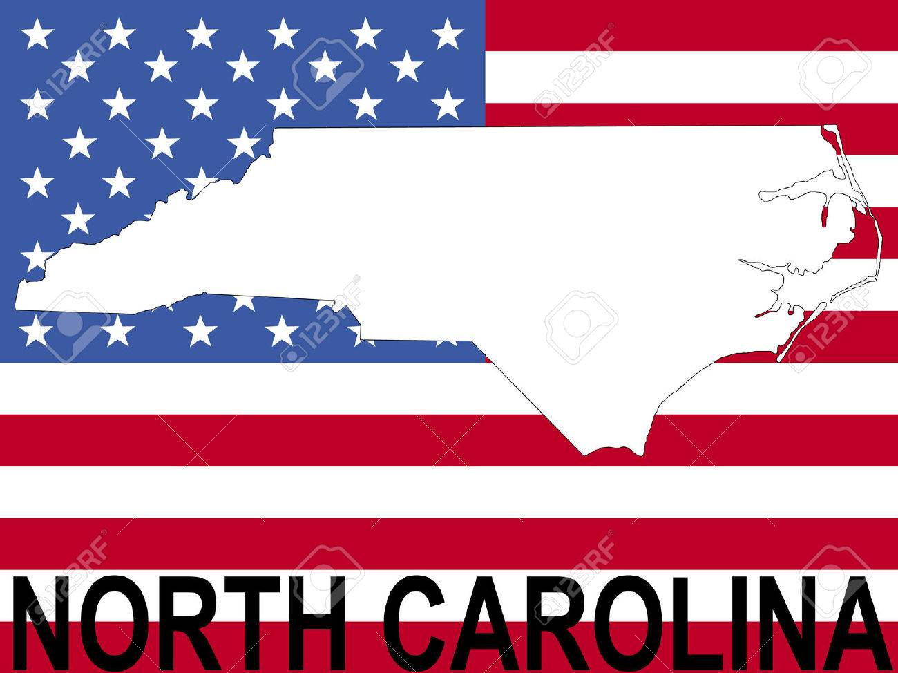 Where Is Nc On The Us Map Map Of North Carolina On American Flag - North carolina on the us map