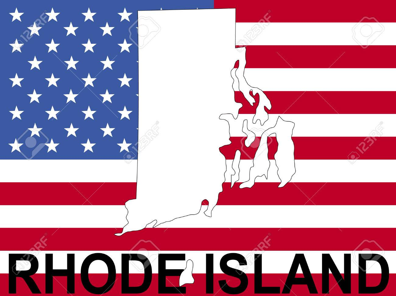 Map Of Rhode Island On American Flag Ilration Stock Ilration 1448133