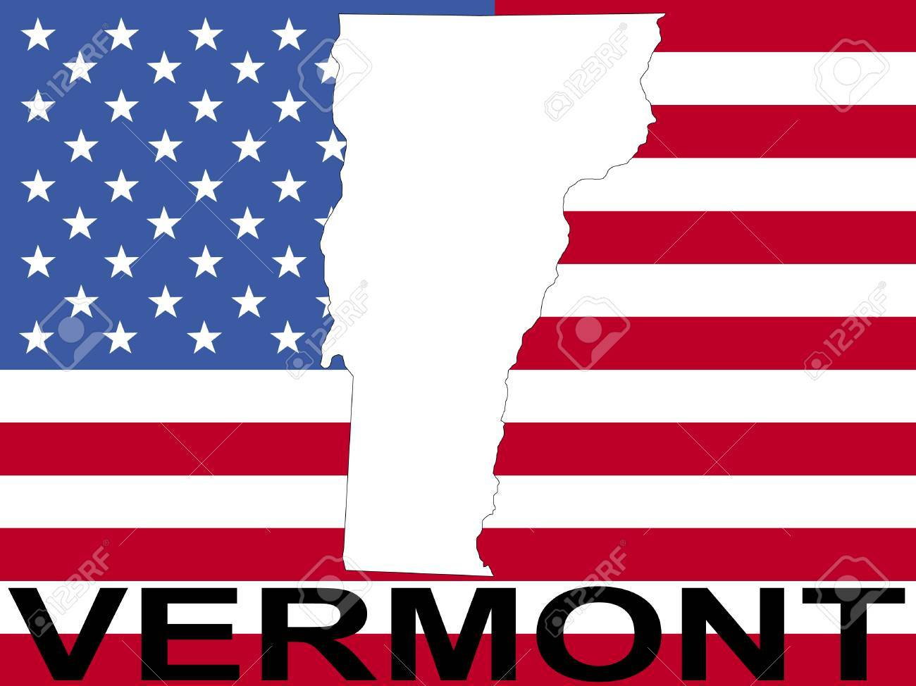 Map Of Vermont On American Flag Illustration Stock Photo Picture - Usa maps vermont