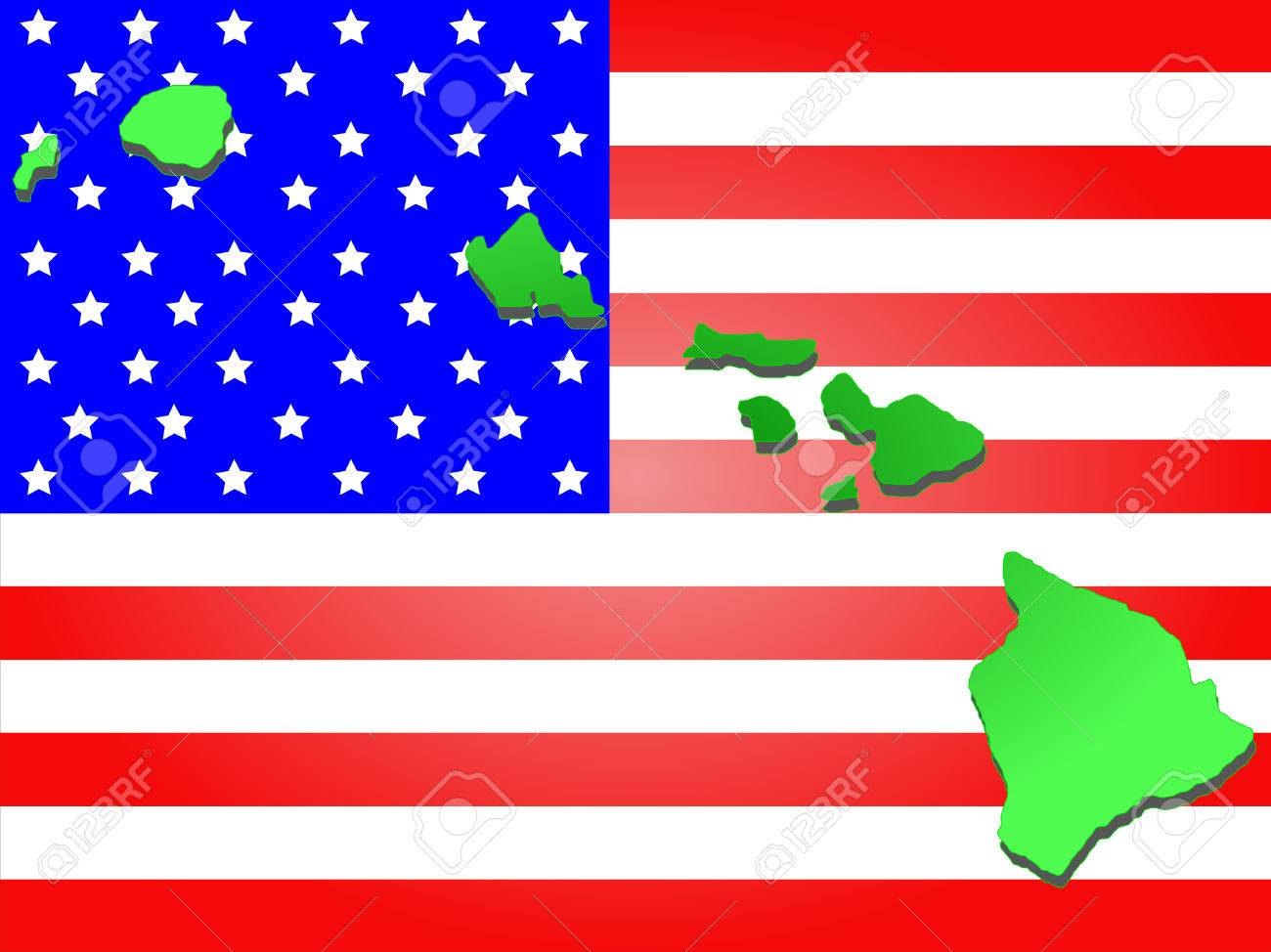 Map Of The State Of Hawaii On American Flag Stock Photo 1612879