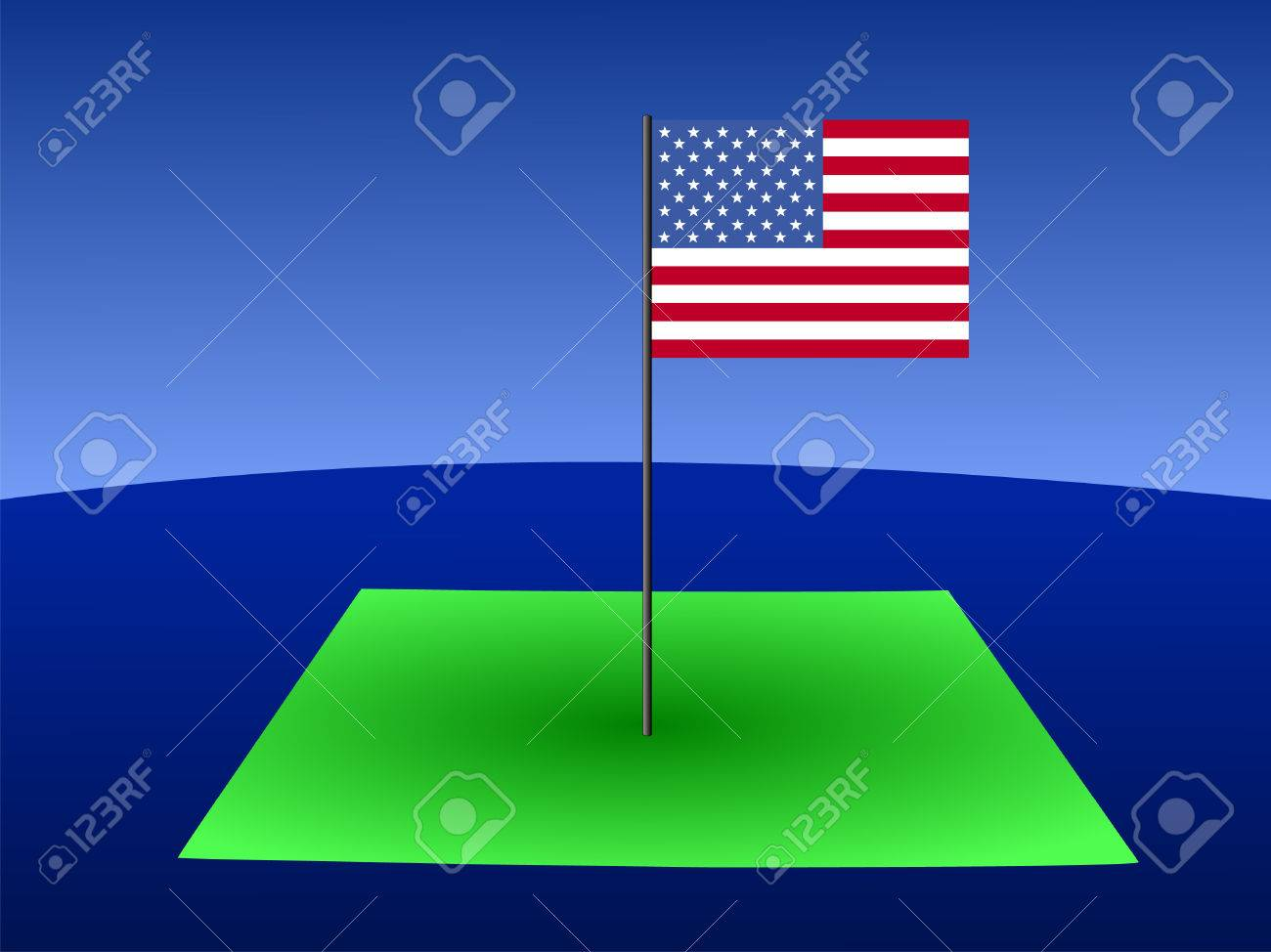 Map Of Colorado With American Flag On Pole Illustration Stock Photo