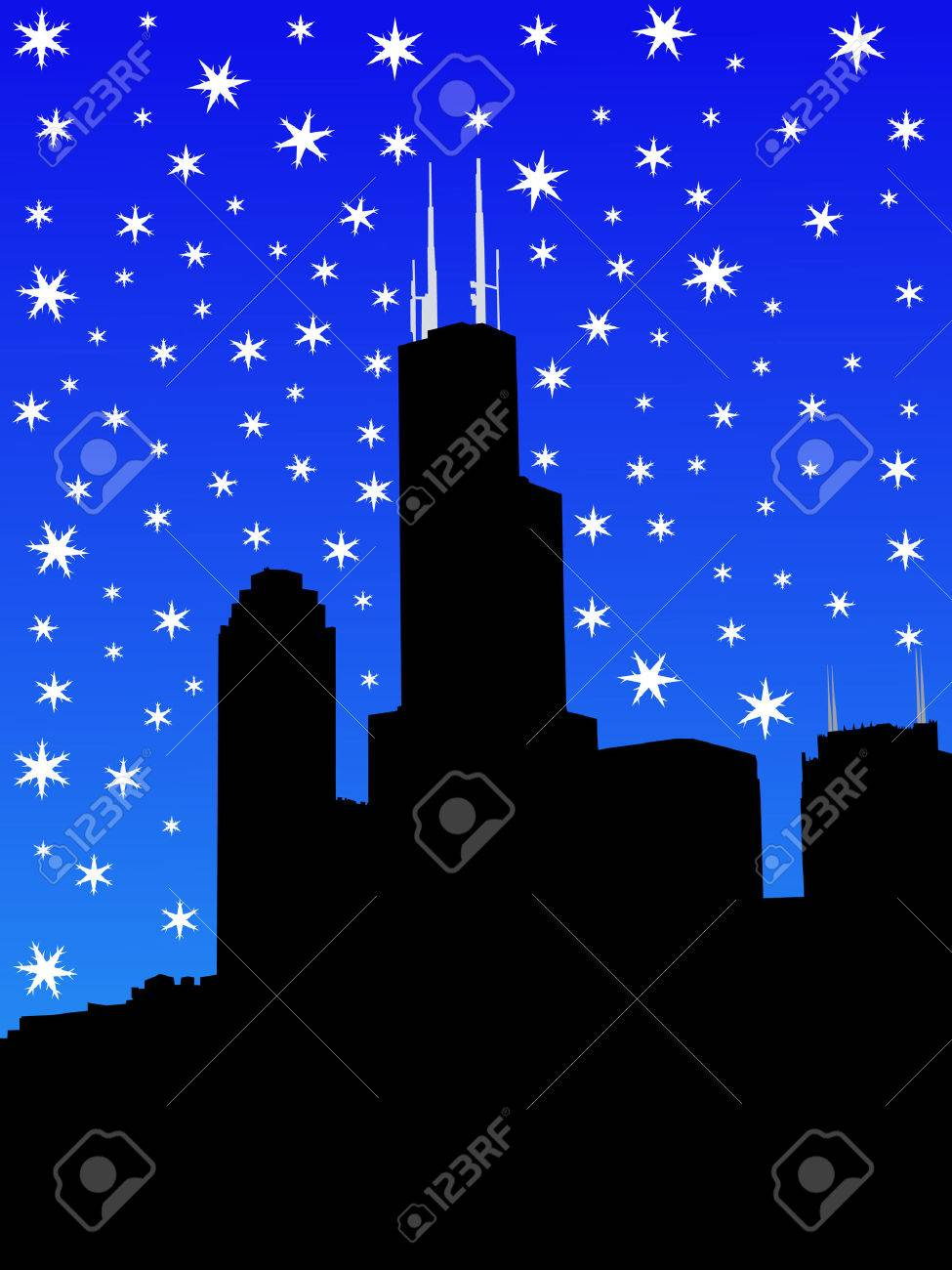 Sears tower Chicago in winter with falling snow Stock Photo - 1674889