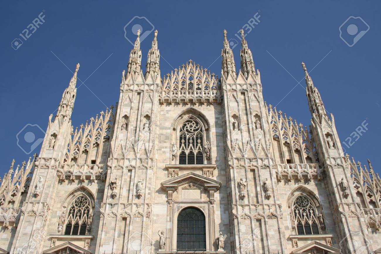 upper part of the facade of Duomo Milan Italy Stock Photo - 1772080