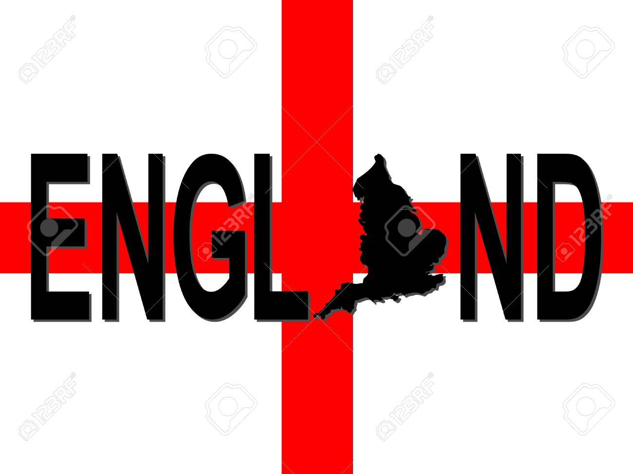 england text with map on flag illustration stock photo picture