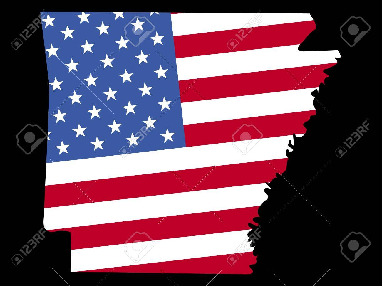 Map Of The State Of Arkansas And American Flag Stock Photo - Us flag on the map