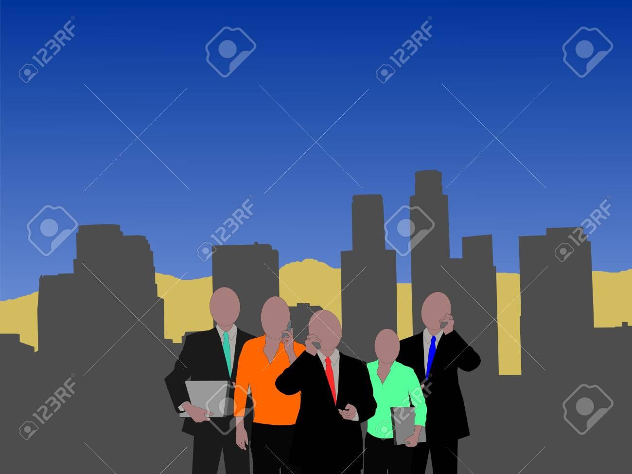 Los Angeles skyline with business team illustration Stock Illustration - 2448692
