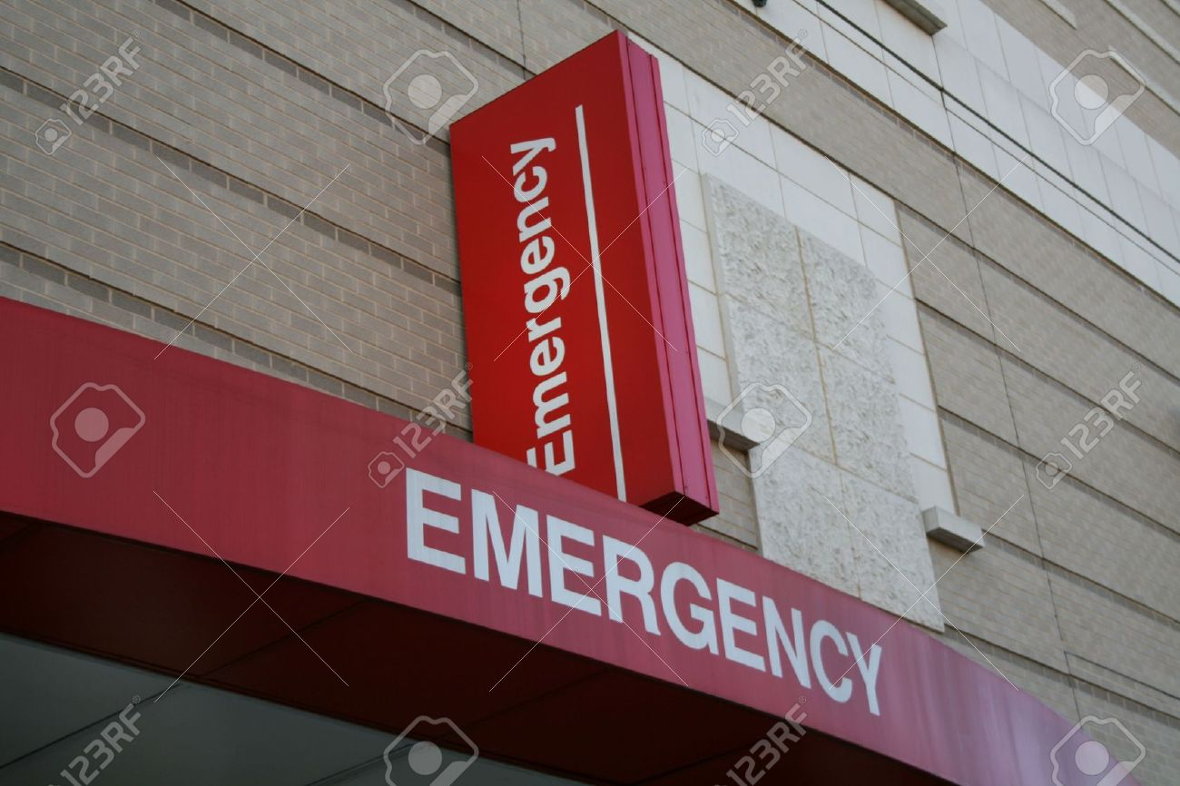 Emergency room entrance with sign on Hospital building Stock Photo - 2527741
