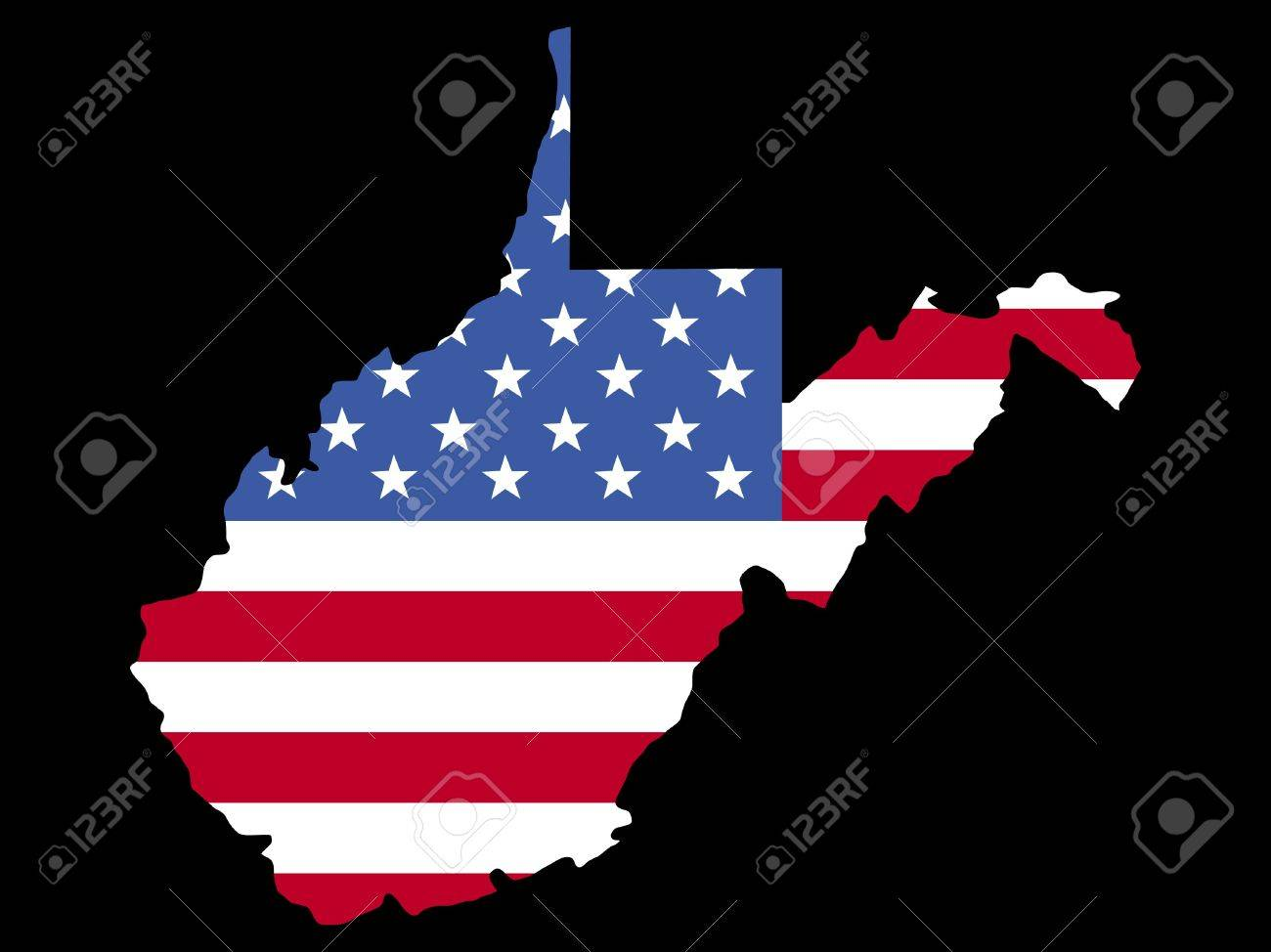 Map Of The State Of West Virginia With American Flag Stock Photo ...
