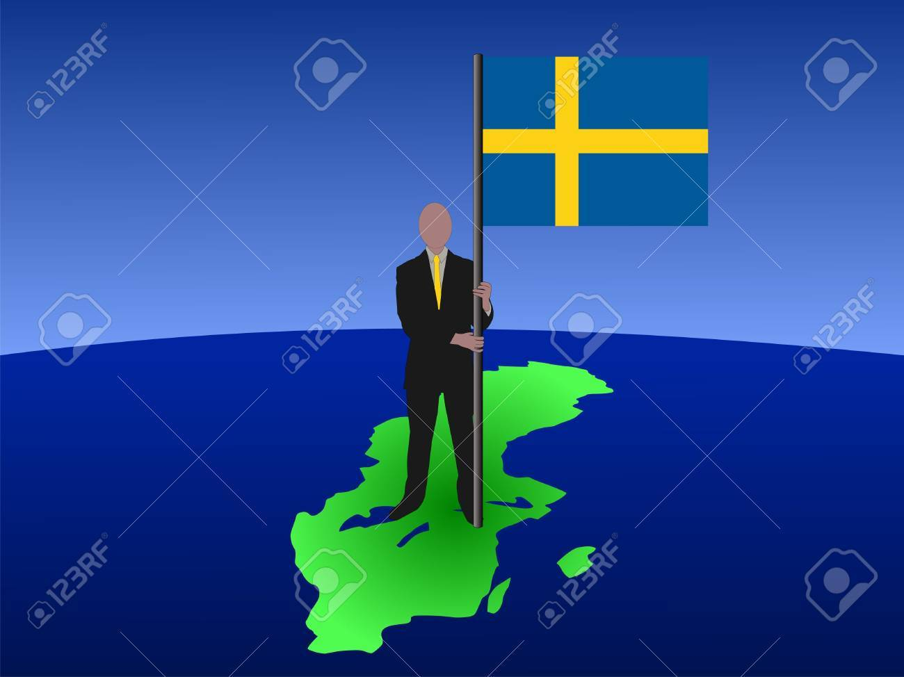 business man standing on map of sweden with flag Stock Photo - 2563743