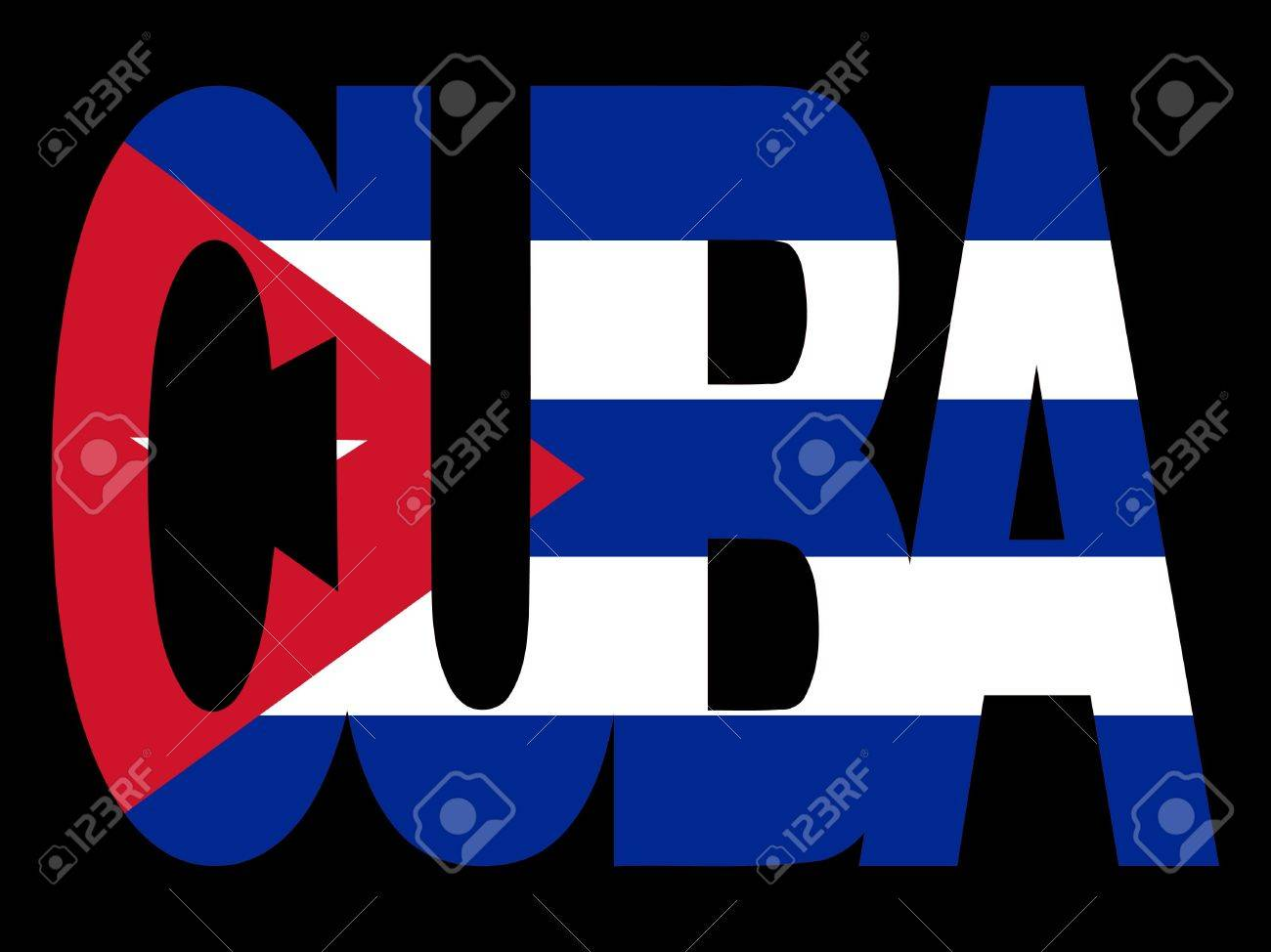 Outline Of Cuba Text With Cuban Flag Illustration Stock Photo