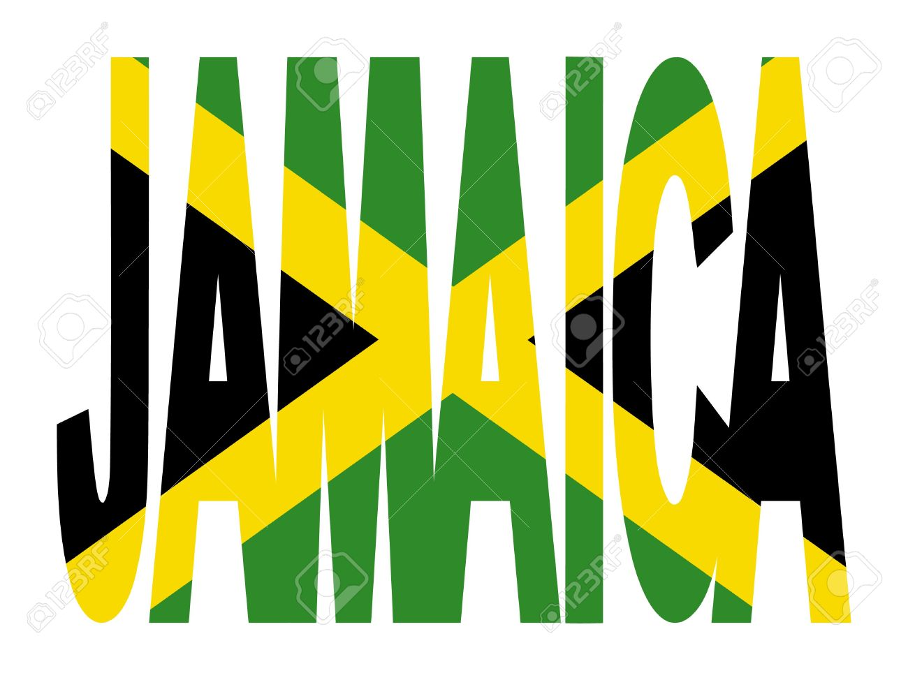 jamaica text with jamaican flag illustration stock photo picture