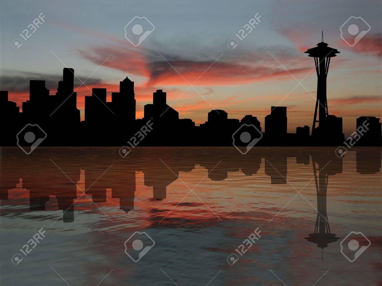 Seattle skyline reflected at sunset illustration Stock Illustration - 3275982