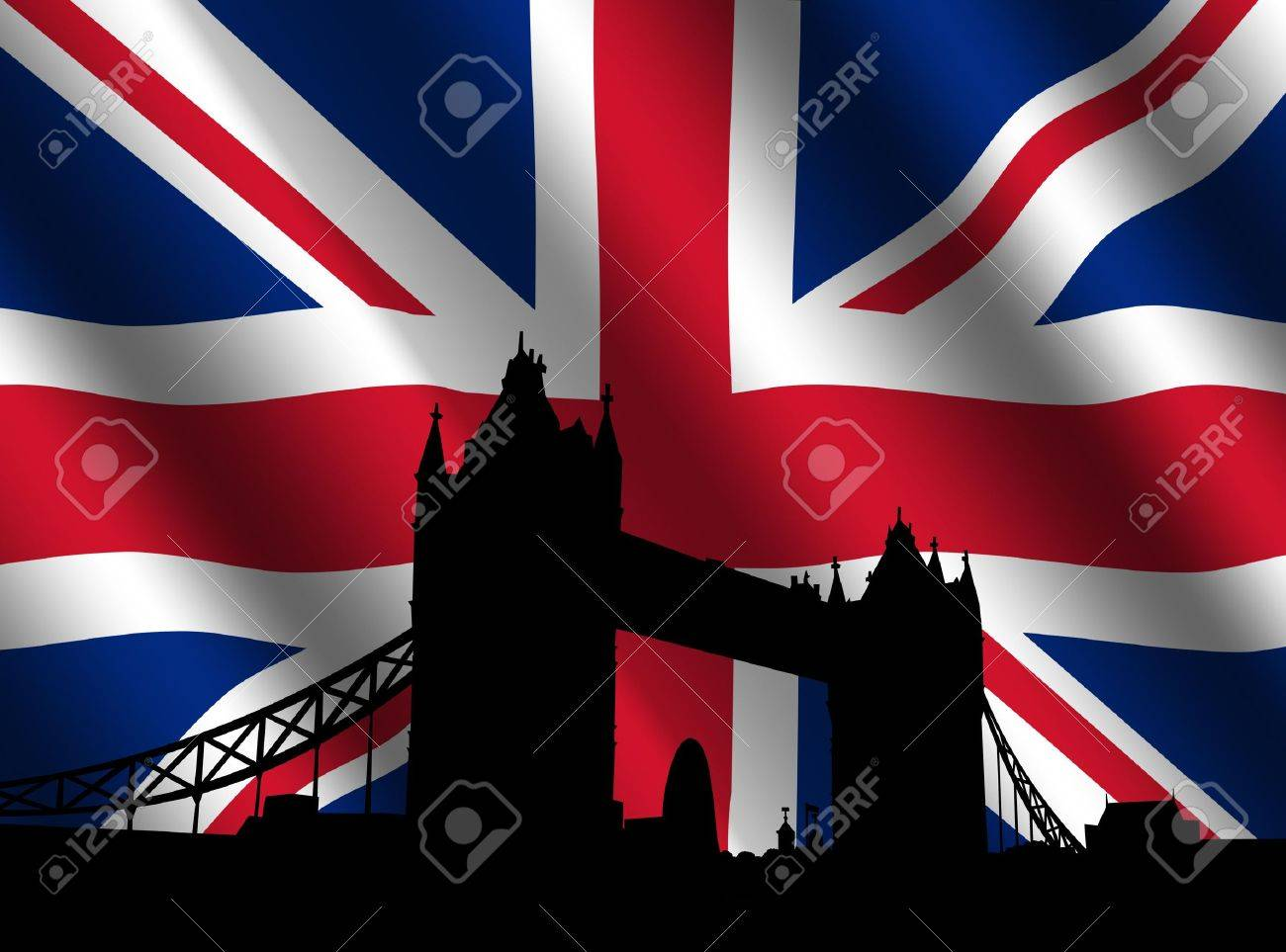 Tower Bridge London with rippled British Flag illustration Stock Photo - 3357762